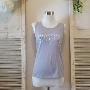 Victoria's Secret Sport slit and tie back sports tank gray size XS